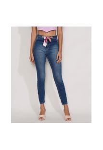 Calça Jeans Feminina Skinny Cropped Cintura Alta Com Lenço Estampado Azul Escuro