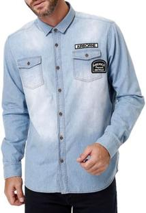 Camisa Manga Longa Jeans Masculina Azul Claro