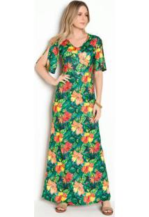 Vestido Longo Floral Com Recorte Vazado