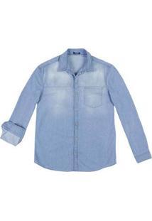 Camisa Jeans Masculina Slim Em Algodão Com Lavação Clara