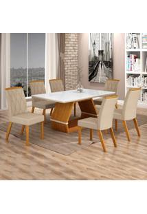 Conjunto Sala De Jantar Mesa Tampo De Vidro Branco 6 Cadeiras Esmeralda Leifer Imbuia Mel/Off White/Palha