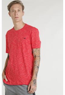 Camiseta Masculina Esportiva Ace Mescla Manga Curta Gola Redonda Vermelha