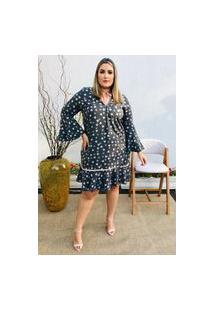 Vestido Feminino Mac-Lu Estampado Com Leve Babado Na Barra Linha Premium Cinza Silver
