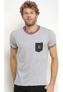 Camiseta Rg 518 Listras Gola & Manga Bolso Masculina - Masculino-Cinza