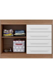 Cômoda 1 Porta 4 Gavetas 2694 Chocolate Plus Multimóveis Marrom/Branco