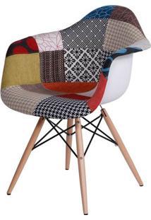 Cadeira Eames Com Braco Base Madeira Patchwork - 19100 - Sun House