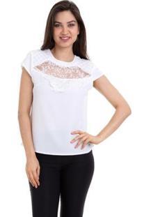 Blusa Crepe Renda E Tule No Decote Feminina - Feminino-Branco