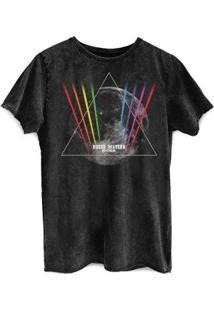 Camiseta Bandup Marmorizada Roger Waters Dark Side - Masculino-Preto