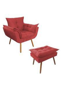 Combo Poltrona Decorativa Opalla Mais Puff Pés Palito Suede Vermelho - Ds Móveis