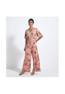 Macacão Pantalona Estampa Floral Com Detalhes Entremeios | Marfinno | Laranja | Gg