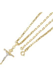Pingente Tudo Joias Cruz Com Corrente Cartier Folheada Ouro 18K -  Unissex-Dourado 44fee7958b