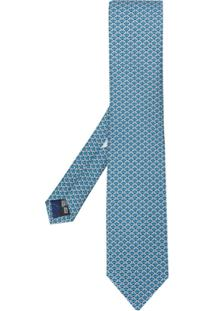 Salvatore Ferragamo Gravata Com Estampa Gancini - Azul