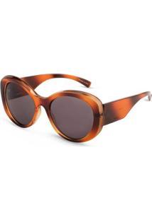 Óculos De Sol Arredondado Em Acetato - Feminino-Marrom