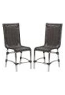 Cadeiras 2Un Para Area Varanda Fibra Sintetica Sala Cozinha Jardim Sacada Sevilha - Tabaco