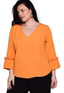 Blusa Almaria Plus Size Pianeta Crepe Amarelo Amarelo
