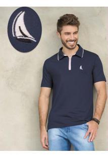 Camisa Polo Marinho Em Malha De Algodão
