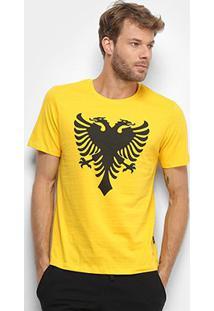 Camiseta Cavalera Águia Masculina - Masculino-Amarelo