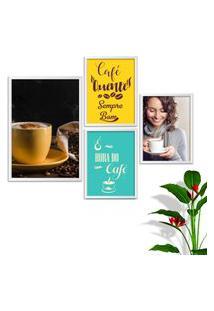 Kit Conjunto 4 Quadro Oppen House S Frases Com Café Quente Sempre Bom Lojas Cafeteria Xícaras Gráos Moldura Branca Decorativo Interiores Sem Vidro