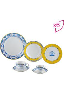 Aparelho De Jantar Amalfi- Branco & Azul- 42Pçs-Rojemac