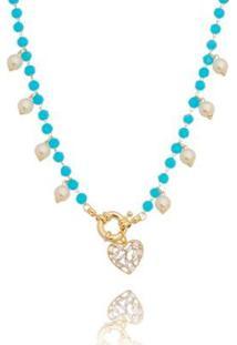 Colar Carolina Alcaide Banhado A Ouro Com Cristais Turquesa E Pérolas Regina - Feminino-Azul Turquesa+Preto