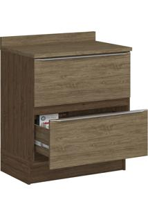 Balcão 2 Gavetas Sem Pé 4032R Cedro/Wood - Decibal Móveis