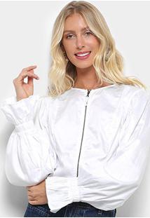 Camisa Morena Rosa Cropped Manga Longa Balonê Zíper Frontal Feminina - Feminino-Off White