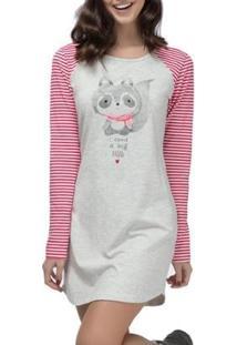 Camisola Espaço Pijama Feminina - Feminino-Cinza