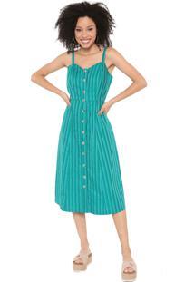 Vestido Cantão Midi Listras Verde/Azul