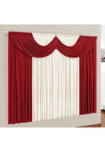 Cortina Esmeralda Casa Dona 400X280 Cm Vermelho - Incolor - Dafiti
