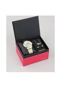 Kit De Relógio Analógico Lince Feminino + Brinco + Colar - Lrgh091L Kv66S1Kx Dourado
