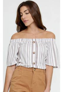 Blusa Feminina Ombro A Ombro Listrada Marisa