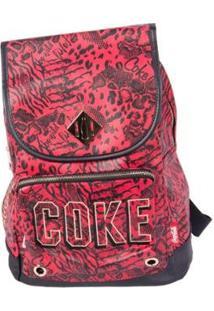 Bolsa Coca-Cola De Costas Animal Mix Feminina - Feminino-Vermelho