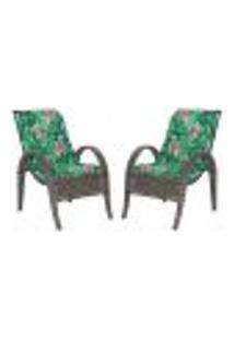 Cadeiras 2Un P/ Jardim Lazer Edicula Varanda Descanso Fibra E Tramas Napoli Plus Pedra Ferro A01