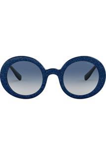 Miu Miu Eyewear Armação De Óculos Redonda Com Brilho 'Divisa' - Azul