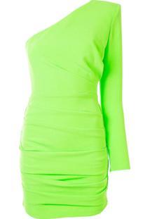 Alex Perry Vestido Mini Ombro Único Cameron Plissado - Verde