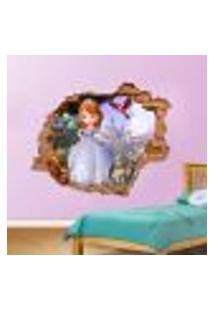 Adesivo De Parede Buraco Falso 3D Princesa Sofia - Eg 100X122Cm