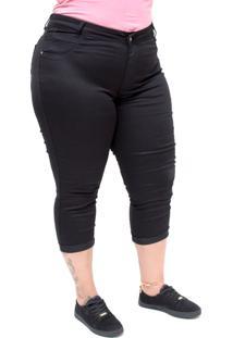 Calça Jeans Credencial Cropped Tali Preta - Kanui