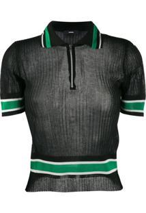 Diesel Camisa Polo Canelada Com Zíper - Preto