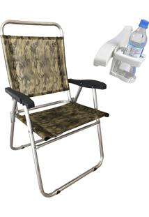 Cadeira De Praia Zaka Até 100 Kg Com Porta Copo Alumínio Camuflada