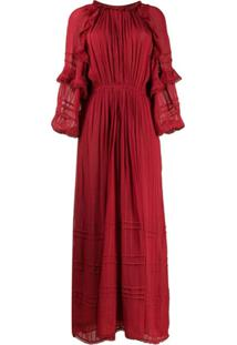 Isabel Marant Étoile Vestido Evasê Longo Com Bordado - Vermelho