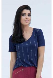 Blusa Pau A Pique Hot Fix - Feminino-Azul Escuro
