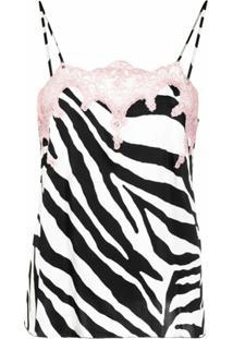 Blumarine Zebra-Print Lingerie Top - Preto