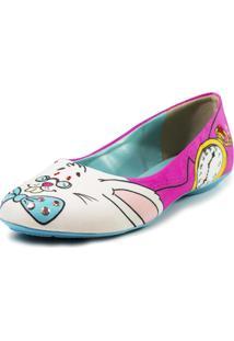 Sapatilha Cupcakes Shoes Bico Redondo Coelho Branco E Rosa