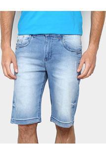 Bermuda Jeans Zamany Delavê Puídos Masculina - Masculino