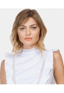 Blusa Bordado E Babado Tecido Branco - Lez A Lez