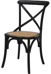 Cadeira Katrina Madeira Assento Em Rattan Cor Preta - 55471 - Sun House