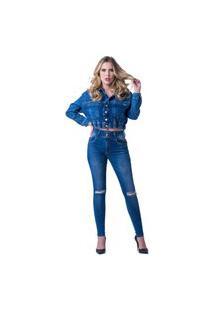 Calça Jeans Zune Feminina Skinny Básica Conforto Casual Azul 36 Azul