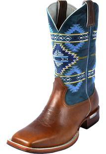 Bota Texana Botas Bico Quadrado Canela Estampada Marrom/Azul