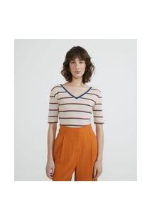 Blusa Em Tricô Listrado Com Decote V Frente E Costas E Manga Curta