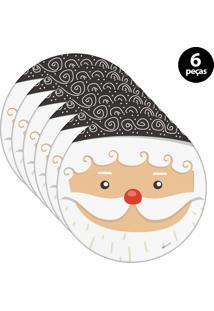 Sousplat Mdecore Natal Papai Noel 32X32Cm Branco 6Pçs